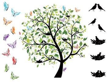 Digital Bird Tree Clip Art Green Tree Love Bird Bird Nest