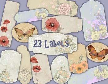 Butterfly and Flowers Label Tag Vintage Flower Frame Clip Art Floral Frame