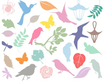 Digital Birds and Leaves Silhouettes Clip Art Lantern Clip