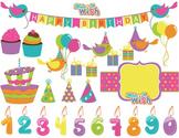 Digital Birthday Clip Art Birthday Bird Birthday Banner Cake Balloon Gift box