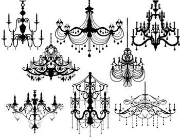 Digital Black Chandelier Clip Art Chandelier Silhouette Vintage Chandelier