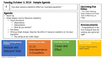 Digital Blank Agenda for Powerpoint and Google Sheets - For NGSS Science Classes