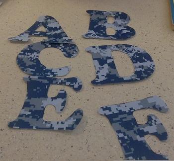 Digital Blue Camo Letters