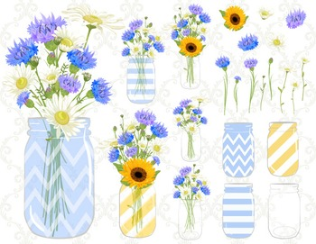 Digital Blue Flower Mason Jar Clip Art Blue Yellow Flower in Mason Jar 0153