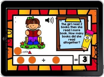 Digital Boom Cards Fall Word Problems