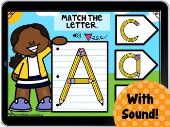 Digital Boom Cards Match the Alphabet -Pencils