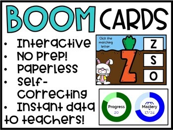 Digital Boom Cards Matching Capital Letters | Easter Theme #DistanceLearningTPT