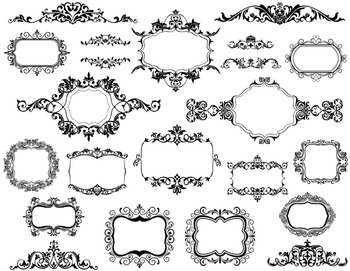 Digital Border Frame Clip Art Border Frame Retro Ornate Vi