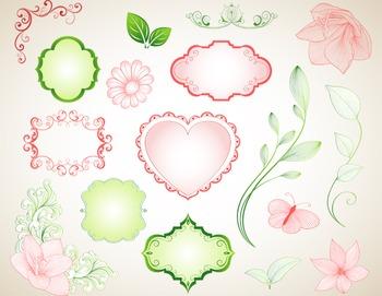 Digital Border Frame Ornate Clip Art Flourish Swirl Clipart Red and Green