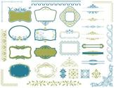Digital Border Frame Ornate Clip Art Flourish Swirl Decoration Blue/Green