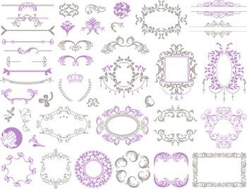 Digital Border Frame Ornate Clip Art Flourish Swirl Purple/Grey
