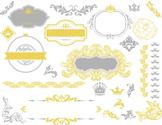 Digital Border Frame Ornate Clip Art Flourish Swirl Scrapbook Decor Yellow/Grey