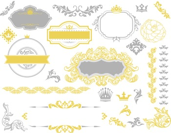 Digital Border Frame Ornate Clip Art Flourish Swirl Scrapbook Decor Yellow/Grey