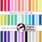 Digital Borders / Ribbon Clipart / Eyelet Heart Trim Clip Art