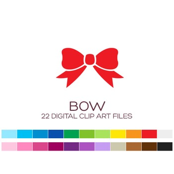 Digital Bow Clipart - 22 digital bows / 4x2 inches - A00003