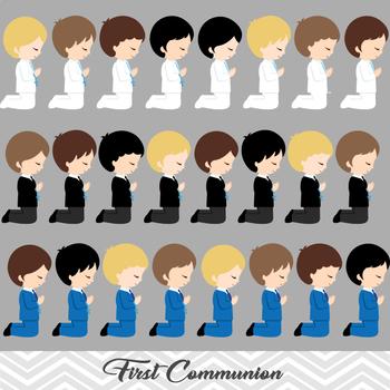 Digital Boy First Communion Clip Art, First Communion Boys Digital Clip Art
