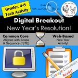 Digital Breakout - New Year's Resolution!   New Year Digital Escape Room
