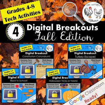 Digital Breakout BUNDLE - Escape Rooms Fall BUNDLE Fall Escape Room