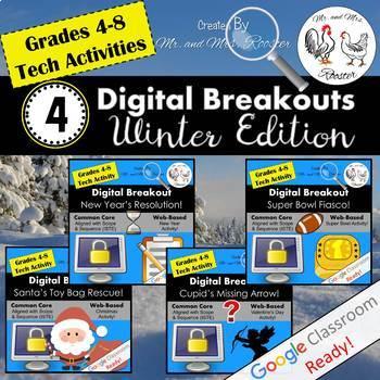Winter Digital Breakout BUNDLE - Escape Rooms Winter BUNDLE Winter Escape Room