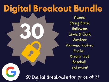 Digital Breakout Bundle: 30 Breakouts! (Spring, Earth Day, Planets, & more)
