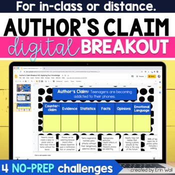 Author's Claim, Evidence, & Counterclaim Digital Breakout