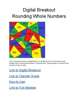 Digital Breakout Short Version- Rounding Whole Numbers
