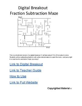 Digital Breakout Short Version- Subtracting Fractions Maze