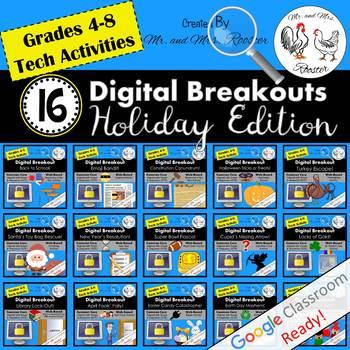 Digital Breakout BUNDLE - 16 Escape Rooms Holiday BUNDLE All Year Escape Room