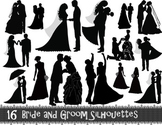 Digital Bride and Groom Silhouette Clip Art Wedding ClipArt