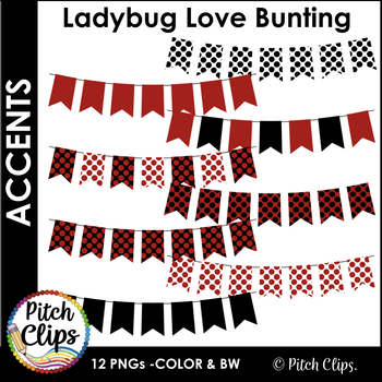 Digital Bunting Banners: Ladybug Love - 12 banners in Red, Black, and White