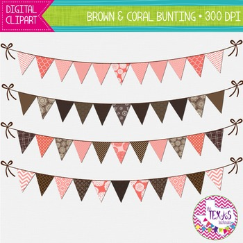 Digital Bunting - Brown and Coral Bunting {COMMERCIAL USE}