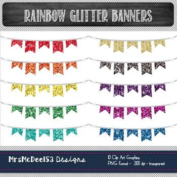 Digital Bunting Clip Art - Rainbow Glitter - 10 graphics