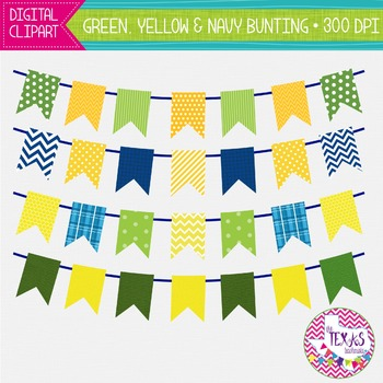 Digital Bunting - Green, Yellow and Navy Bunting {COMMERCIAL USE}