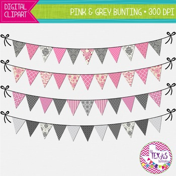 Digital Bunting - Pink and Grey Bunting {COMMERCIAL USE}