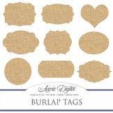 Digital Burlap tags clip art Scrapbook printables fabric f