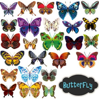 Digital Butterfly Clip Art - Colored and B/W Outlined Butt