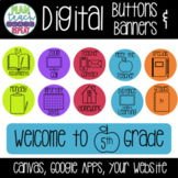 Digital Buttons and Banners for Canvas Google Apps Website - Neon