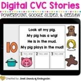 Digital CVC Kindergarten Reading Stories {Google Slides, S