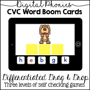 Digital CVC Word Building Activity (Differentiated - 3 Levels) Boom Cards