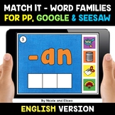 Digital CVC Word Family Word Work for Google and Seesaw -