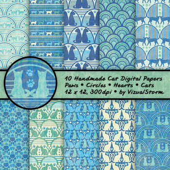 Digital Cat Patterns - 10 Handmade Kitty Cat Backgrounds - Green/Blue/Yellow