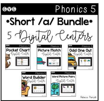 Digital Centers - CVC Short Vowel A (Google Classroom) - Phonics 5 Bundle!