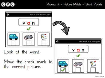 Digital Center - CVC Short Vowel A (Google Classroom) - Picture Match