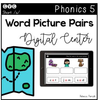 Digital Center - CVC Short Vowel A (Google Classroom) - Word Picture Pairs
