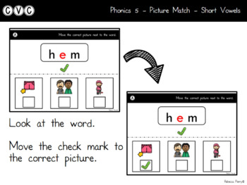 Digital Center - CVC Short Vowel E (Google Classroom) - Picture Match