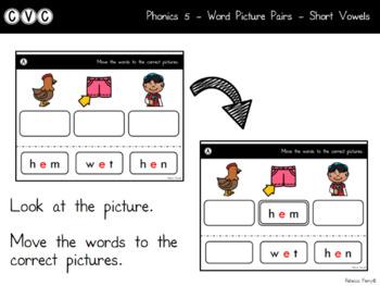Digital Center - CVC Short Vowel E (Google Classroom) - Word Picture Pairs