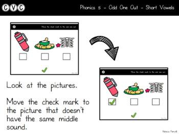 Digital Center - CVC Short Vowel I (Google Classroom) - Odd One Out