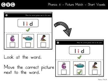 Digital Center - CVC Short Vowel I (Google Classroom) - Picture Match