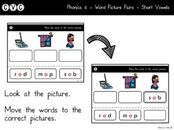 Digital Center - CVC Short Vowel O (Google Classroom) - Word Picture Pairs