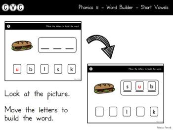 Digital Center - CVC Short Vowel U (Google Classroom) - Word Builder